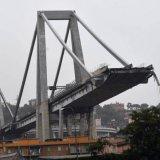 The collapsed Morandi Bridge is seen in the Italian port city of Genoa, Italy, on August 15.