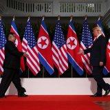 US President Donald Trump meets North Korean Leader Kim Jong-un in Singapore on June 12.