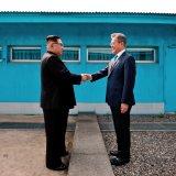 North Korean leader Kim Jong-un (L) met South Korean President Moon Jae-in for a historic border summit in April.