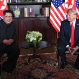 US President Donald Trump (R) and North Korean leader Kim Jong-un in Singapore on June 12