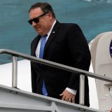 US Secretary of State Mike Pompeo arrives at Benito Juarez International airport in Mexico City on July 13.
