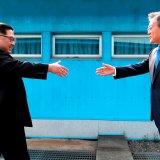 North Korean leader Kim Jong-un (L) and South Korean President Moon Jae-in meet in April 2018.