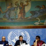Members of the Independent International Fact-finding Mission on Myanmar attend a news conference on the publication of their final report at the UN in Geneva on August 27.