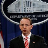 Deputy US Attorney General Rod Rosenstein announces grand jury indictments of 12 Russian nationals during a news conference at the Justice Department in Washington on July 13.
