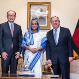 Prime Minister of Bangladesh Sheikh Hasina flanked by UN Secretary-General Antonio Guterres (R) and World Bank Group President Jim Yong Kim in Dhaka, Bangladesh on July 1