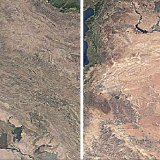 Satellite images retrieved from Google Earth Engine clearly show the reduction in marsh and lake covers in Iraq between 1992 (L) and 2016.