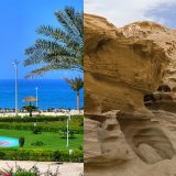 a beach in Kish (L) and Qeshm Geopark. Kish might host football teams while Qeshm could become a destination for tourists.