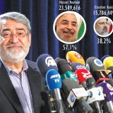 Interior Minister Abdolreza Rahmani Fazli announces election results to reporters in Tehran on May 20.
