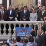 "Catala president Carles Puigdemont (C), vice president Oriol Junqueras (L) and president of the Parliament Carme Forcadell (R) sing the Catalan anthem ""Els Segadors"" after a session of the Catalan parliament in Barcelona on October 27. Catalonia's parliament voted to declare independence from Spain and proclaim a republic."