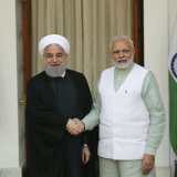 Indian Prime Minister Narendra Modi (R) shakes hand with Iranian President Hassan Rouhani before their delegation-level meeting in New Delhi, India, on Feb. 17, 2018. (File Photo)