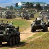 Russian armored personnel carriers take part in the military exercises in the Chita region of Eastern Siberia during the Vostok 2018 exercises in Russia on Sept. 11.