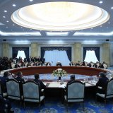 Iranian and Kyrgyz delegations meet in Bishkek on Dec. 23.