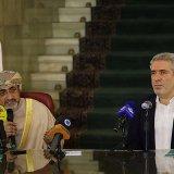 Ahmed bin Nasser Al Mahrizi (L) and Ali Asghar Mounesan met at Tehran's Sa'dabad Palace on Feb. 24.