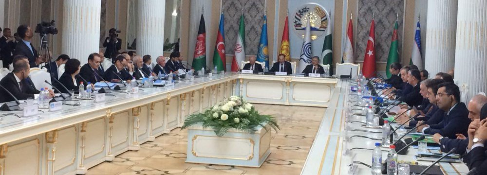 Participants in the 23rd ECO Ministerial Meeting in the Tajik capital Dushanbe on Monday
