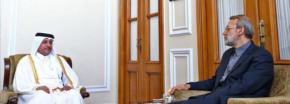 Ali Larijani (R) talks with Qatar's outgoing ambassador to Tehran, Ali bin Hamad al-Sulaiti.