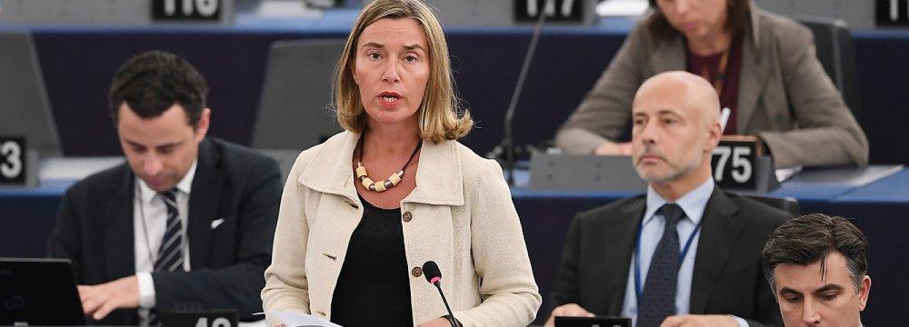 EU diplomatic chief Federica Mogherini speaks at the European Parliament on June 12, in Strasbourg, eastern France.