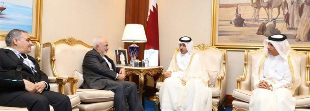 Qatari Premier, Zarif Discuss Ties, Region