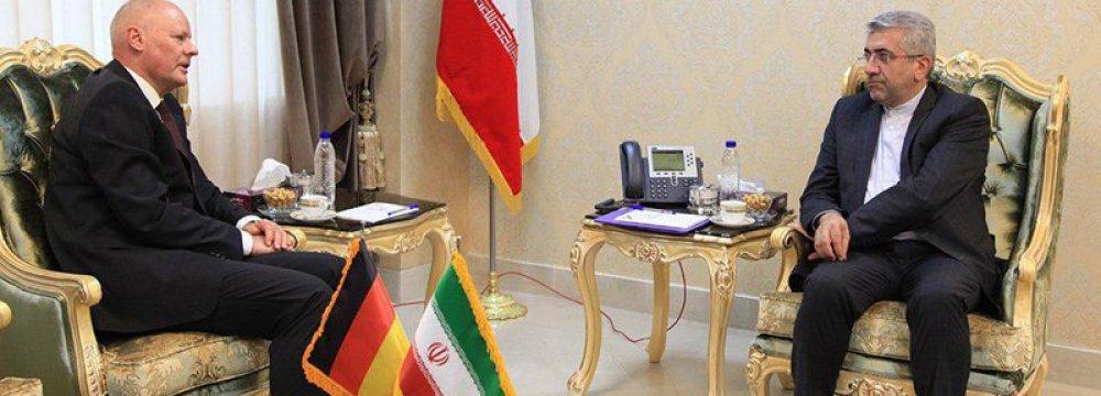 German Ambassador Klor-Berchtold (L) meets Energy Minster Reza Ardakanian in Tehran on April 24.