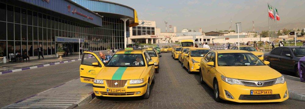 Yellow cabs at Tehran's Mehrabad International Airport