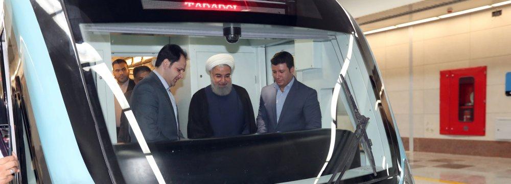 Rouhani Inaugurates Mashhad Subway Intersection