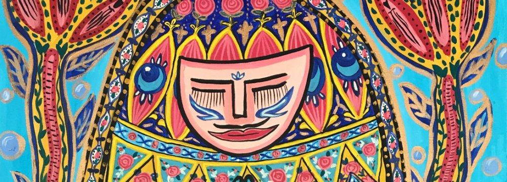 The Persian Princess in Pray' by Mowen Li inspired by Nasir ol-Mulk Mosque in Shiraz