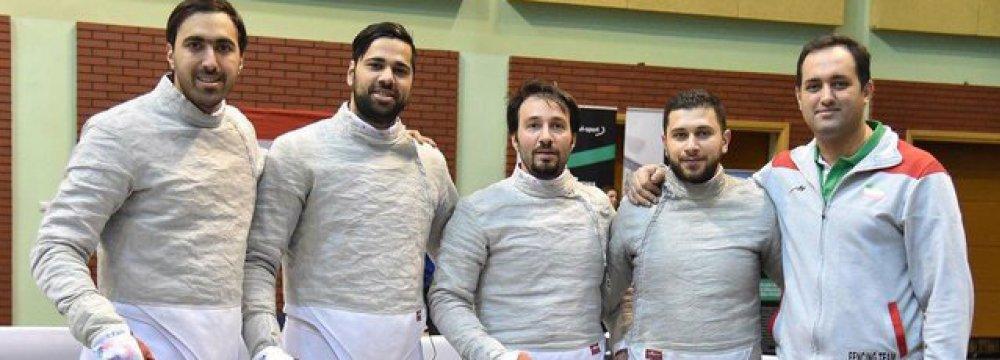 From left: Ali Pakdaman, Mohammad Rahbari, Mojtaba Abedini, Farhad Baher-Arasbaran and the coach Peyman Fakhri