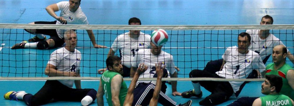 Iran squad (in green) defeated Bosnia.