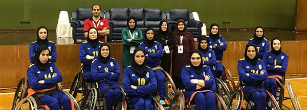 Women wheelchair basketball team at the tournament