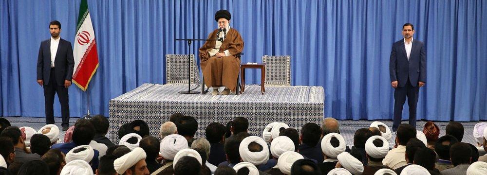 Leader of Islamic Revolution Ayatollah Seyyed Ali Khamenei addresses a group of religious scholars in Tehran on May 12.