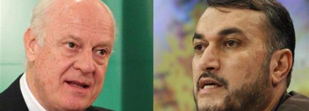 UN Envoy, Deputy FM Discuss Syria