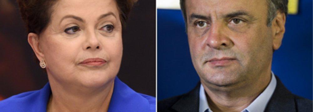 Rousseff, Neves Neck&Neck  Ahead of Brazil Runoff