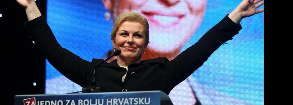 Croatia Narrowly Elects First Female President