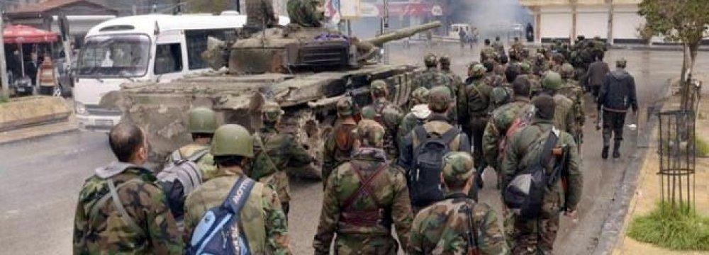 Syria Army Recaptures Territory North of Aleppo