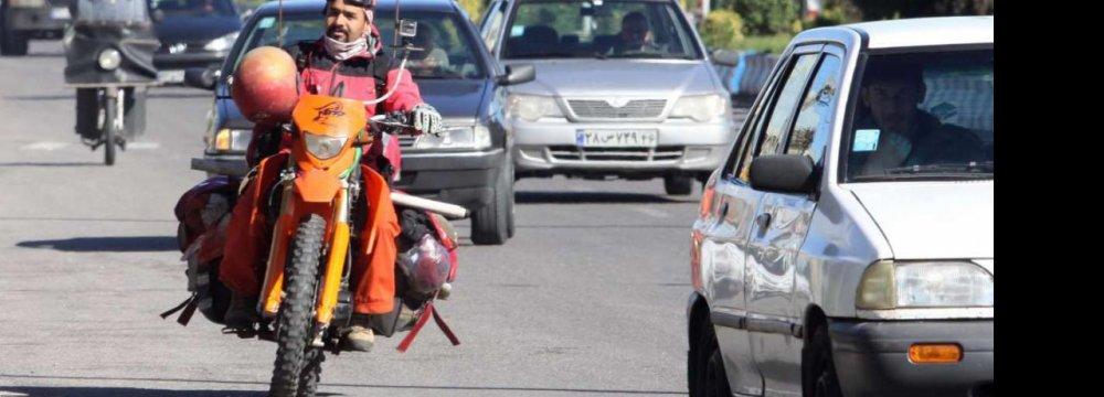 Birjandi Motorcyclist Raises Awareness on Land Mines