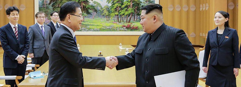 North Korean leader Kim Jong-un (R) meets South Korean National Security Director Chung Eui-yong in Pyongyang, North Korea.