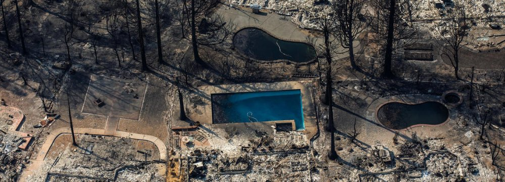 An aerial view of the Coffey Park neighborhood in Santa Rosa, California destroyed by wildfire.