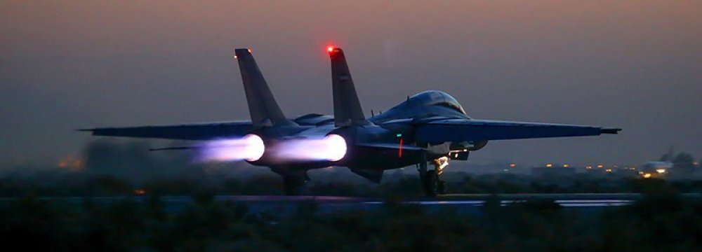 Air Force Fighters Practice Carpet-Bombing