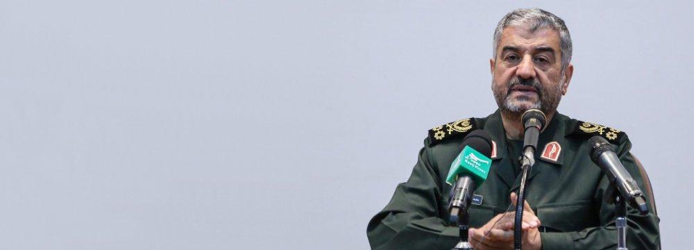 IRGC chief, Mohammad Ali Jafari, addresses a gathering of military commanders in Tehran on Oct. 8.