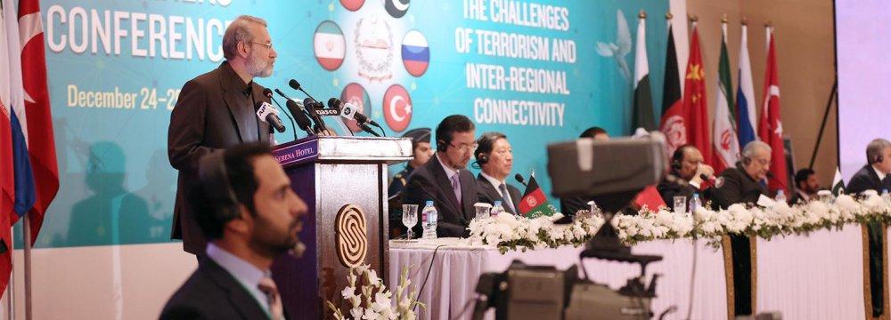 Majlis Speaker Ali Larijani addresses a counterterrorism conference in Islamabad, Pakistan, on Dec. 24.
