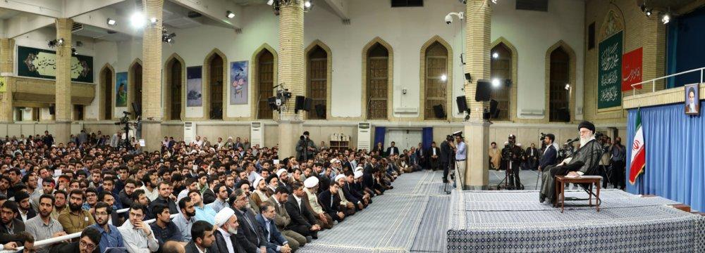 Ayatollah Seyyed Ali Khamenei addresses university students in Tehran on June 7.