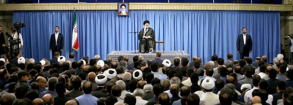 Ayatollah Seyyed Ali Khamenei addresses academics in Tehran on June 21.