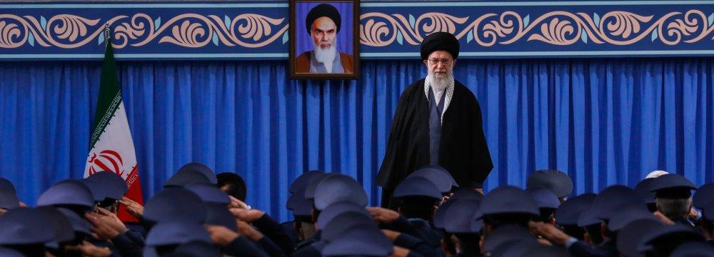 Ayatollah Seyyed Ali Khamenei addressed commanders and personnel of Iran's Air Force and Khatam al-Anbia Air Defense Base in Tehran on Feb. 8.