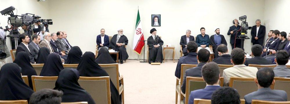 Ayatollah Seyyed Ali Khamenei receives a group of academic elites, Olympiad medal winners and professors of Sharif University of Technology in Tehran on Jan. 2.
