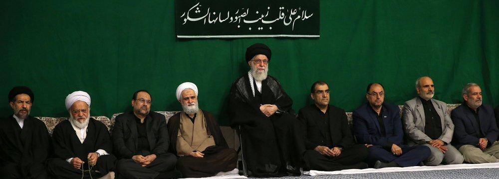 Ayatollah Seyyed Ali Khamenei attends a ceremony in Tehran on Nov. 9 to observe the Arbaeen event.