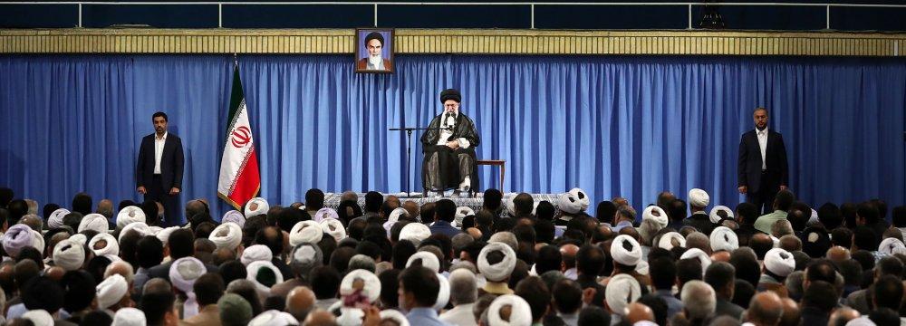 Ayatollah Seyyed Ali Khamenei addresses hajj officials in Tehran on July 30.