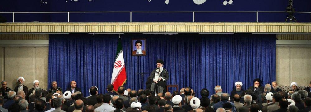 Ayatollah Seyyed Ali Khamenei addresses senior officials in Tehran on June 13.