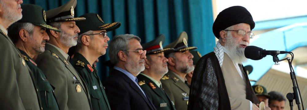 Ayatollah Seyyed Ali Khamenei addresses the graduation ceremony of police cadets in Tehran on Sept. 17.