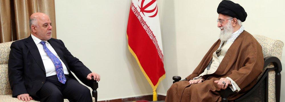 Ayatollah Seyyed Ali Khamenei receives Iraqi Prime Minister Haider al-Abadi in Tehran on Oct. 26.