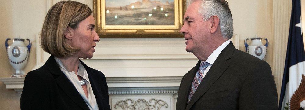 Mogherini, Tillerson Discuss Iran  Nuclear Deal
