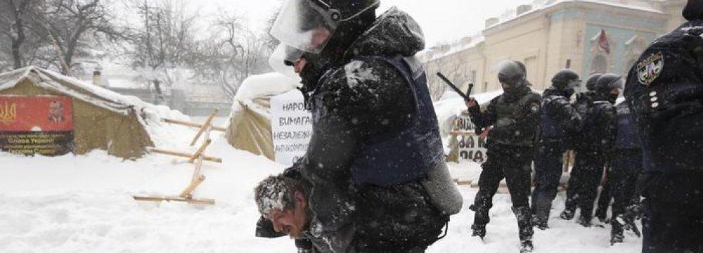 Police, Protesters Clash in Kyiv